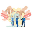 the hands puppeteer manage businessmen in vector image vector image