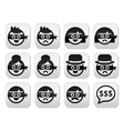 Thief man and woman faces in masks icons set vector image