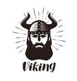 viking logo or label portrait bearded man in vector image