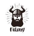 viking logo or label portrait of bearded man in vector image vector image