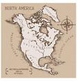 vintage map north america vector image