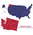 washington counties with usa map vector image vector image