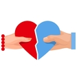 Female and male hand holding heart symbol of love vector image