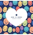 funny faces heart silhouette pattern frame vector image