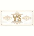 retro versus letters vs logo competition symbol vector image