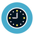 clock icon on round blue background vector image