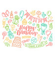 colorful birthday party lettering and doodle set vector image