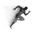 a sprinter made from small dots vector image