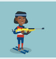 african-american biathlon runner aiming at target vector image vector image