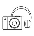 audio earphones with camera photographic vector image vector image