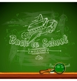 Back to school chalk-writing on blackboard vector image