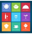 Bar and restaurant flat style icon set vector image vector image
