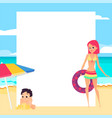 beach background young girl and child cartoon vector image vector image