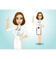 beautiful doctor giving a thumbs up vector image vector image
