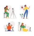 bloggers recording online video set women conduct vector image