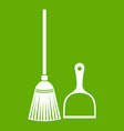 broom and dustpan icon green vector image vector image