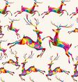 Christmas colorful triangle reindeer seamless vector image