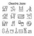 cleaning house hygiene icon set in thin line vector image vector image