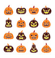 colorful carving face pumpkin icon set vector image vector image