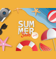 creative summer sale banner with paper cut style vector image vector image