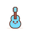cute blue classic wooden guitar cartoon comic vector image