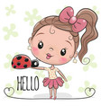 cute cartoon girl with ladybug vector image
