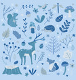 cute hand drawn winter forest children vector image vector image