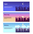 different time day banners good morning vector image vector image