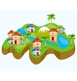 Drawing of the land with house vector image vector image