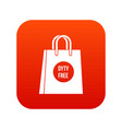 duty free shopping bag icon digital red vector image vector image