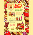 fast food dishes and fastfood meals poster vector image vector image