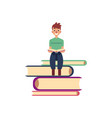 flat adult man reading book at pile vector image vector image