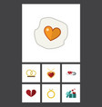 flat icon amour set of divorce closed engagement vector image vector image