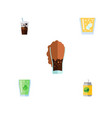 flat icon beverage set of carbonated cup vector image vector image