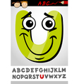 Funny letter u cartoon vector image