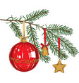 green fir branch with toys vector image vector image