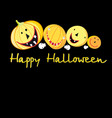 greeting card with a cheerful pumpkins vector image vector image