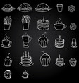 hand drawn food and meal on black vector image