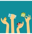 Hands of the sellers or buyers reach various cute vector image vector image