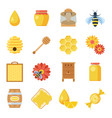 honey and beekeeping icon set vector image