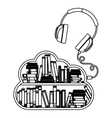 Isolated ebook and headphone design vector image vector image