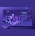 isometric city violet wallpaper vector image vector image
