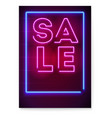 Neon sale sign on dark background luminous