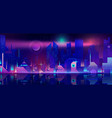night city in neon lights futuristic cityscape vector image vector image