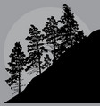 painted silhouette of trees on a mountainside in a vector image