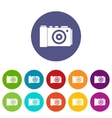 Photo camera set icons vector image vector image