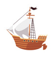 pirate sailboat or sea filibusters ship icon flat vector image vector image