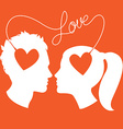 profiles man and woman connected love wire vector image