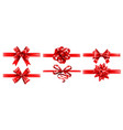 realistic red ribbons with bows festive wrapping vector image