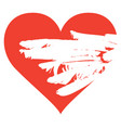 red heart with white wing inside banner vector image vector image